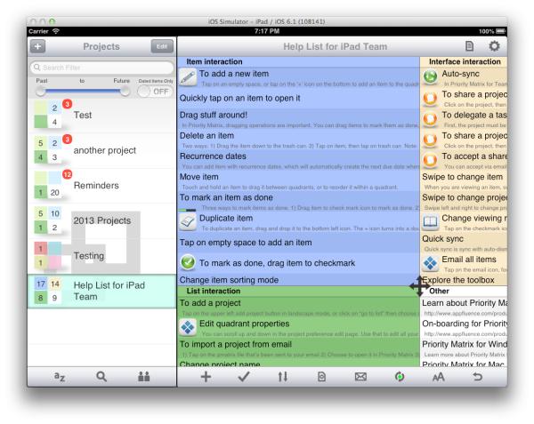 Priority matrix screenshot 2