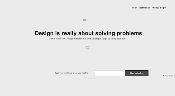 UXPin - low fidelity wireframe, sample