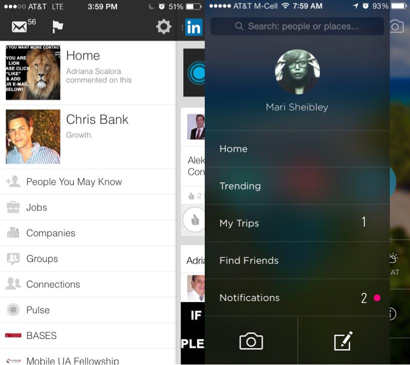UI Patterns, Slideouts, Sidebars, & Drawers, LinkedIn