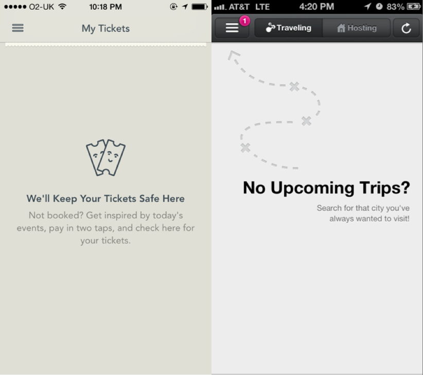UI Patterns, Empty States, Airbnb