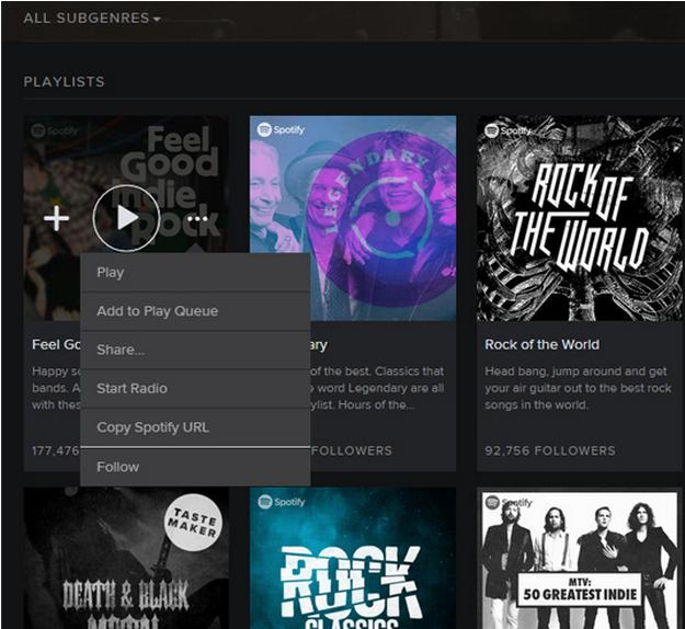 Spotify UI Design Pattern