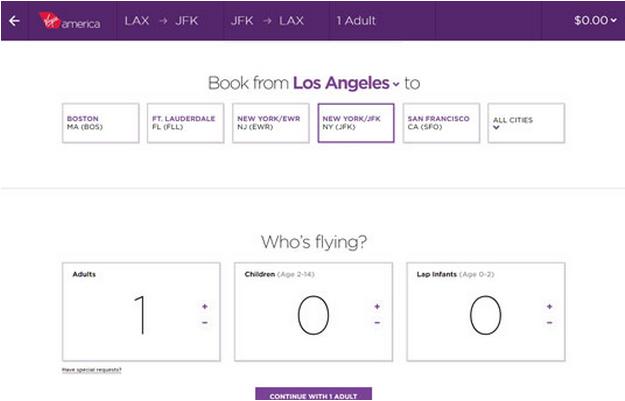 Virgin Atlantic Booking Form UI Pattern