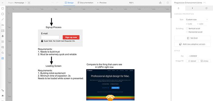 User flow prototype in UXPin