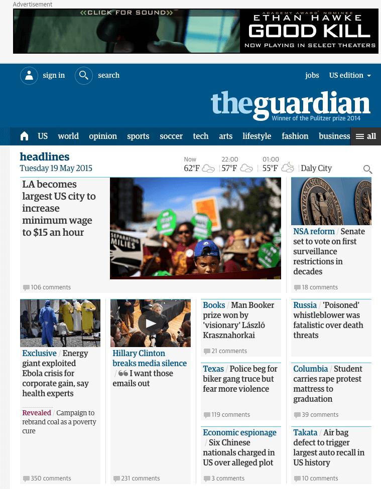Screenshot of the Guardian website.