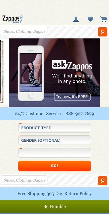 Screenshot of the Zappos website.