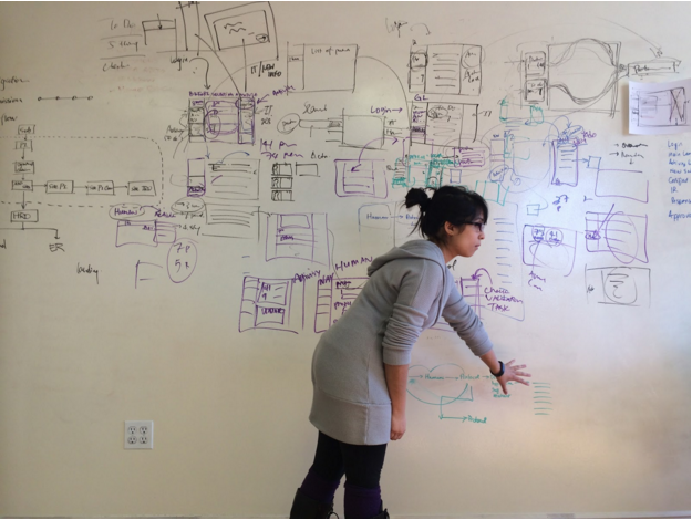 Photo of a designer at a white board