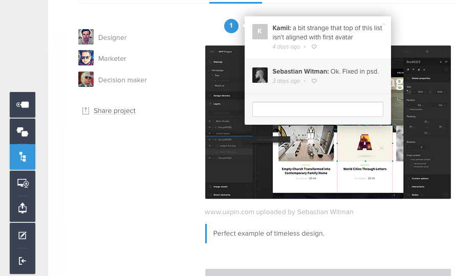 Screenshot of giving feedback in UXPin