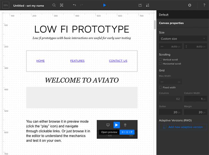 Sample prototype UI
