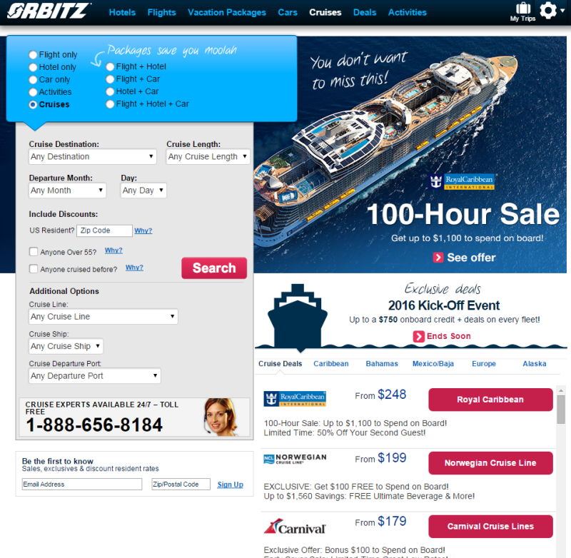 Screenshot of Orbitz's complicated web form