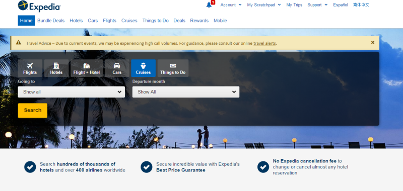 Screenshot of Expedia's website design