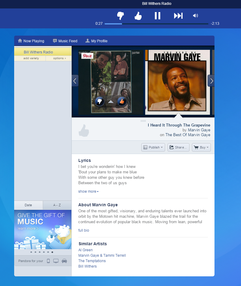 Screenshot of Pandora's web app