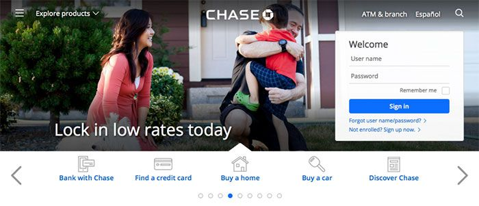 Chase's website with a happy family