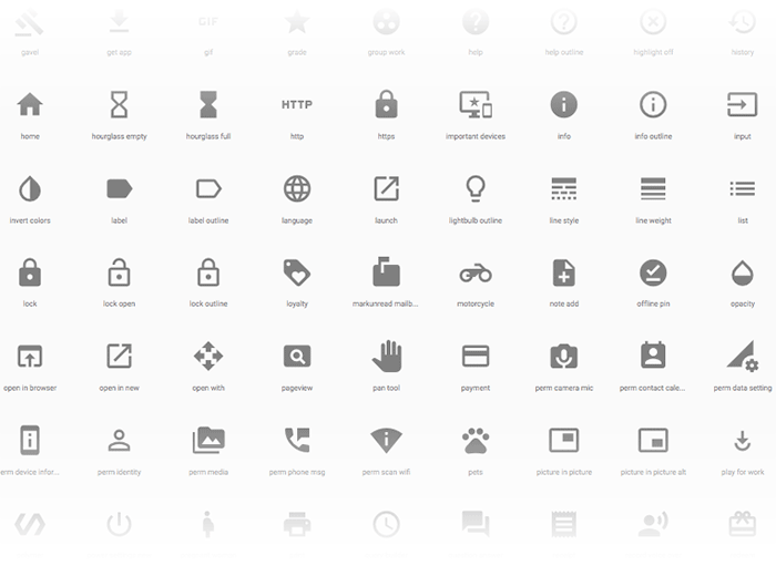 Various icons from Google Material Design