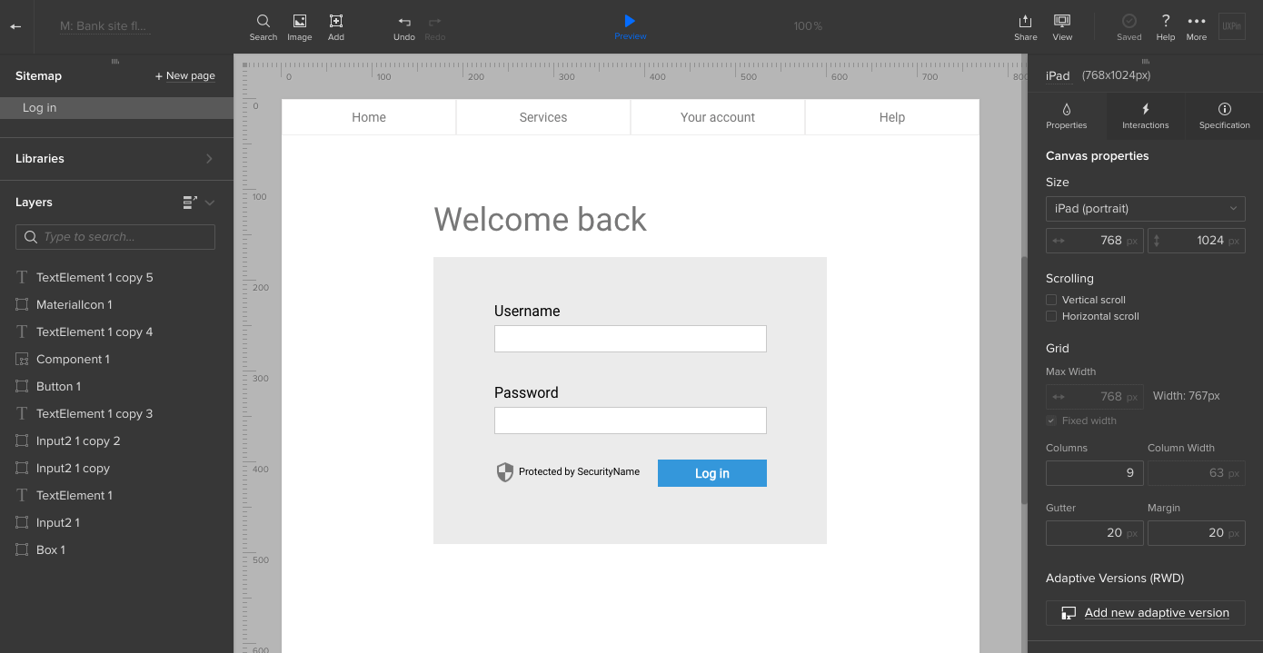 Bank login screen