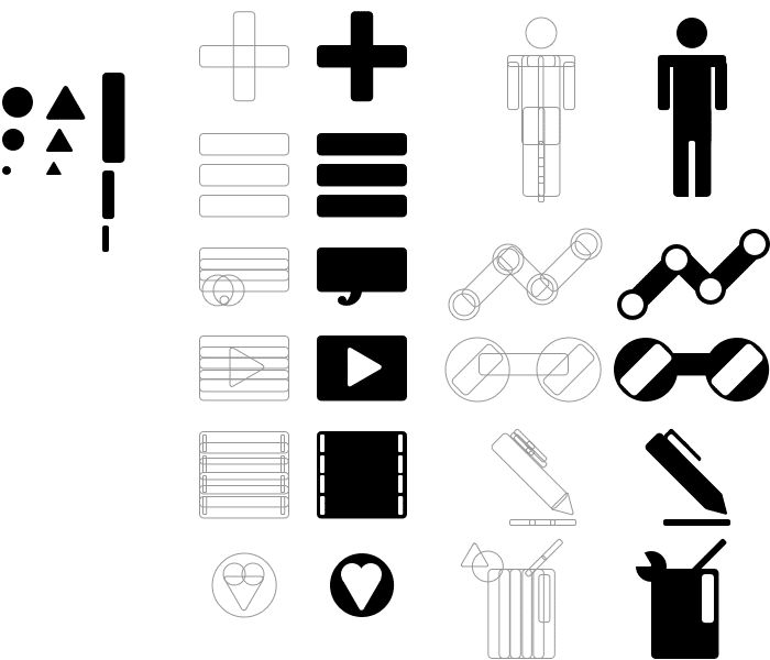 Icons based on shapes