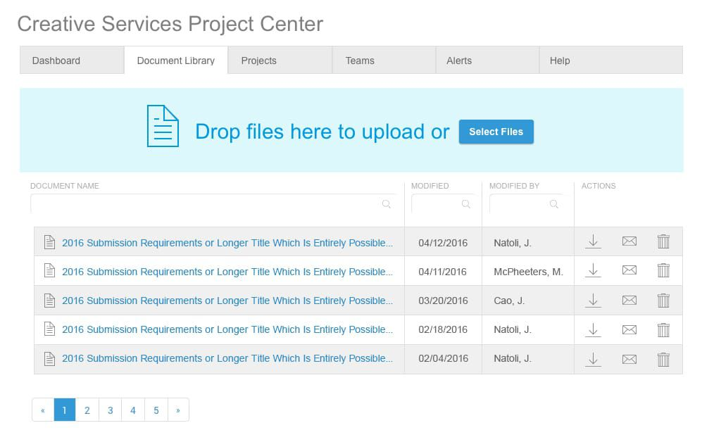 Prototype of document management platform in UXPin