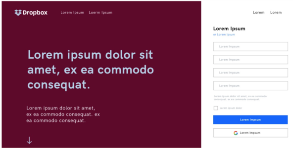 lorem ipsum dropbox page